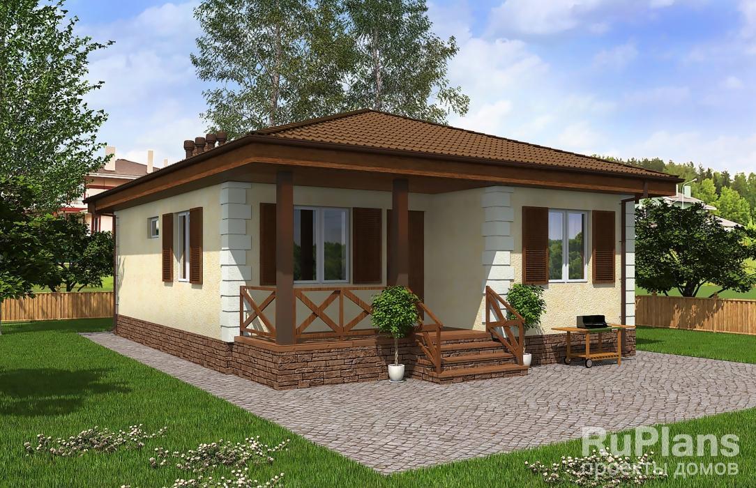 Проект одноэтажного жилого дома с террасой Rg5094
