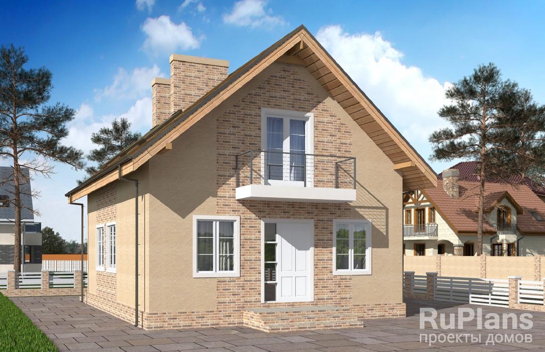 Дом с мансардой, террасой и балконами Rg5090