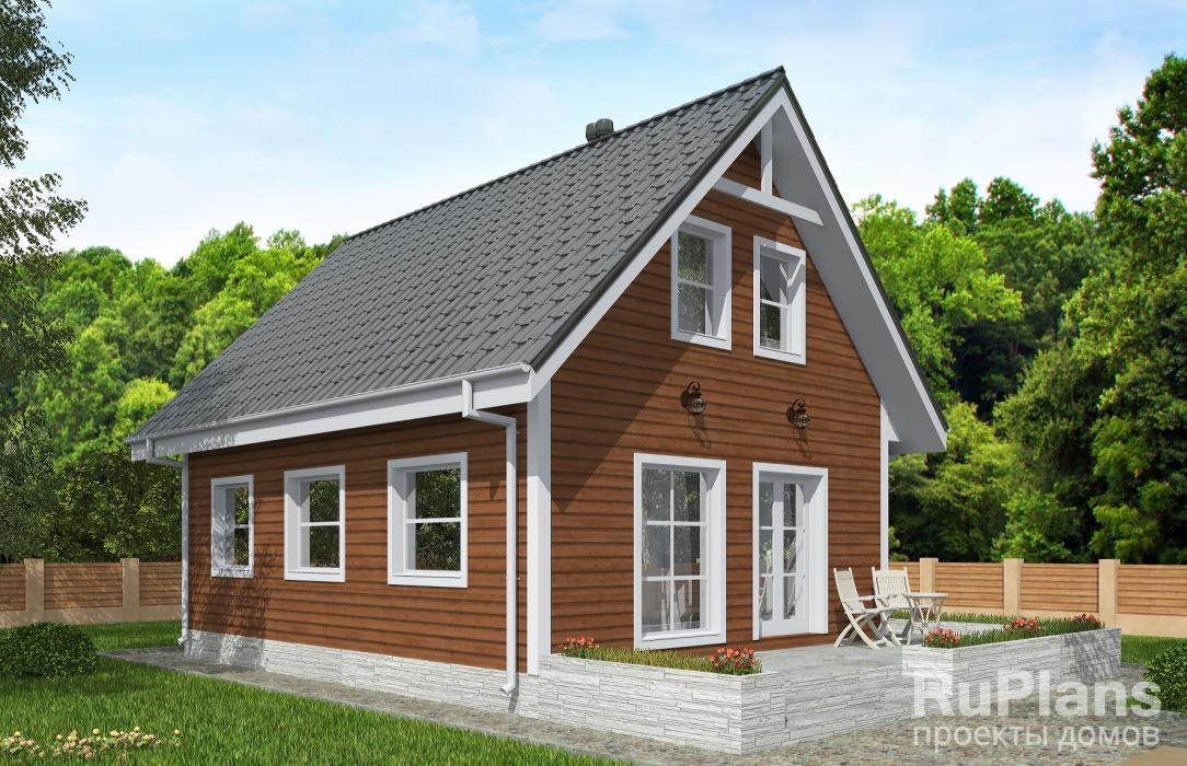 Одноэтажный дом с мансардой и террасой Rg5021