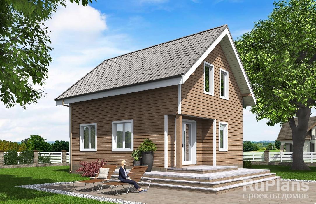 Одноэтажный дом с мансардой и террасой Rg5326